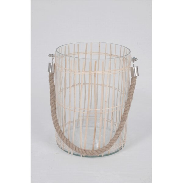 Glass and Bamboo Hurricane Vase by BIDKhome