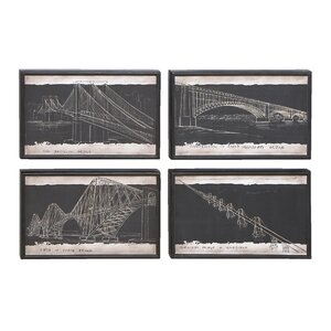 Blueprint 4 Piece Framed Graphic Art Set by Cole & Grey