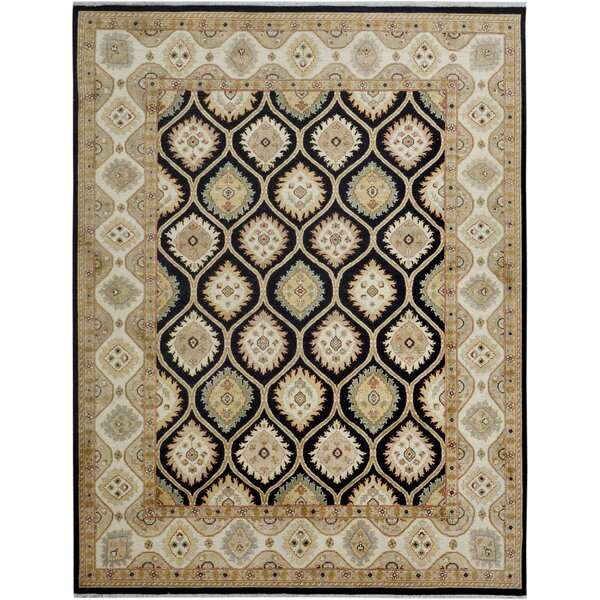 One-of-a-Kind Dorn Hand-Knotted Wool Black/Ivory Area Rug by Isabelline