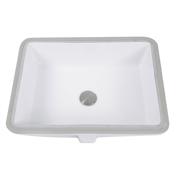 Great Point Vitreous China Rectangular Undermount Bathroom Sink with Overflow by Nantucket Sinks