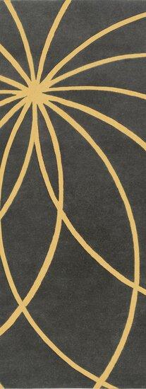 Dewald Hand Woven Wool Black/Yellow Area Rug by Ebern Designs