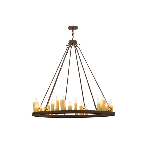 24 - Light Candle Style Wagon Wheel Chandelier by Foundry Select Foundry Select