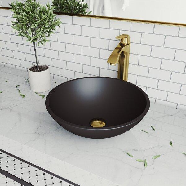 Handmade Cavalli Glass Circular Vessel Bathroom Sink with Faucet (Set of 3)