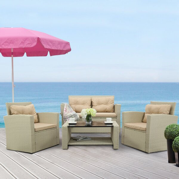Ida 4 Piece Rattan Sofa Seating Group with Cushions by Rosecliff Heights