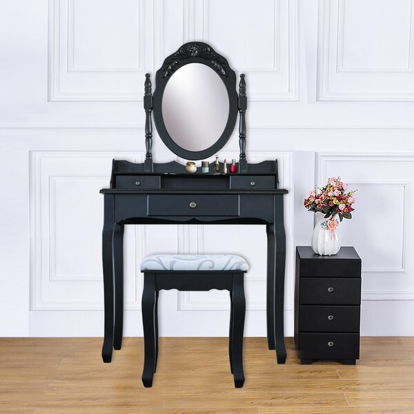 Hildebrand Wood 3 Drawer Vanity Set with Mirror by Alcott Hill
