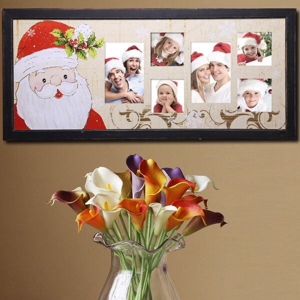 6 Opening Decorative Painted Pine Santa Claus Wall Hanging Collage Picture Frame by Adeco Trading