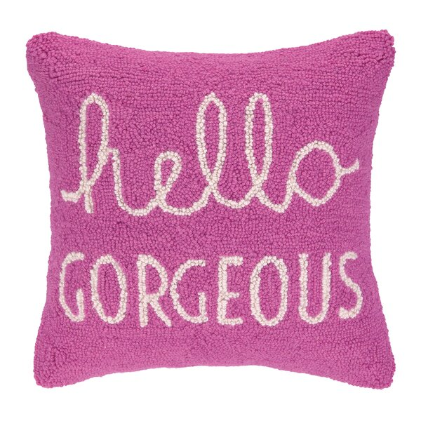 Hello Gorgeous Square Hook Wool Throw Pillow by Peking Handicraft