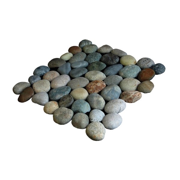 Classic Random Sized Natural Stone Pebble Tile in River Gray Blend by Pebble Tile