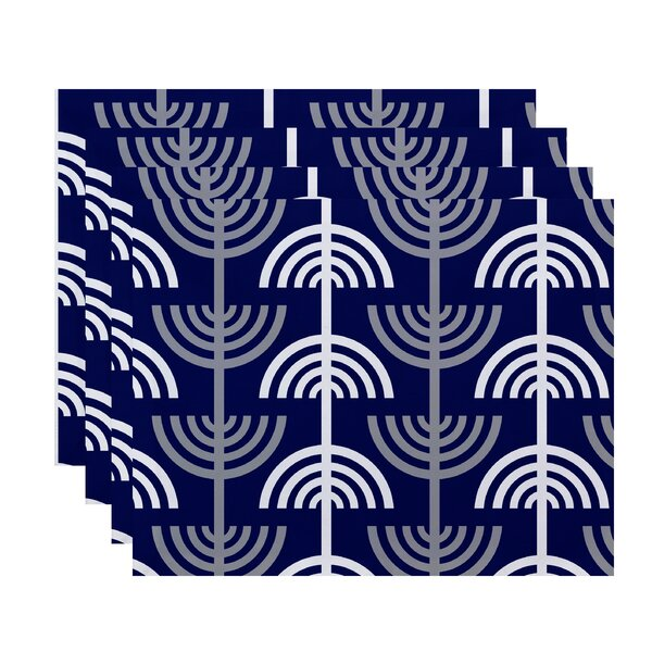 Menorah Abstract Holiday Stripe Print Placemat (Set of 4) by The Holiday Aisle