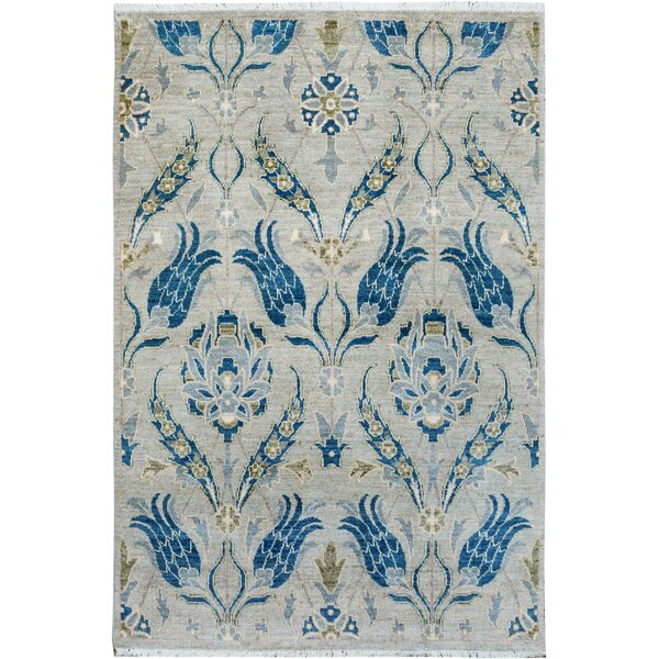One-of-a-Kind Palmquist Hand-Knotted Wool Gray/Blue Area Rug by Bloomsbury Market