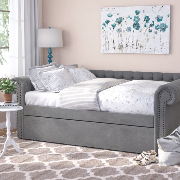 Full Gowans Button Tufted Linen Daybed by Three Po