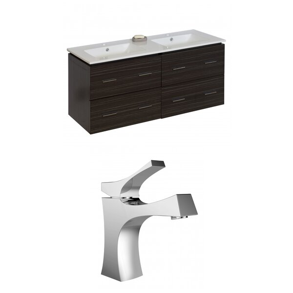 Kyra Modern 48 Multi-Layer Stain Double Bathroom Vanity Set by Orren Ellis