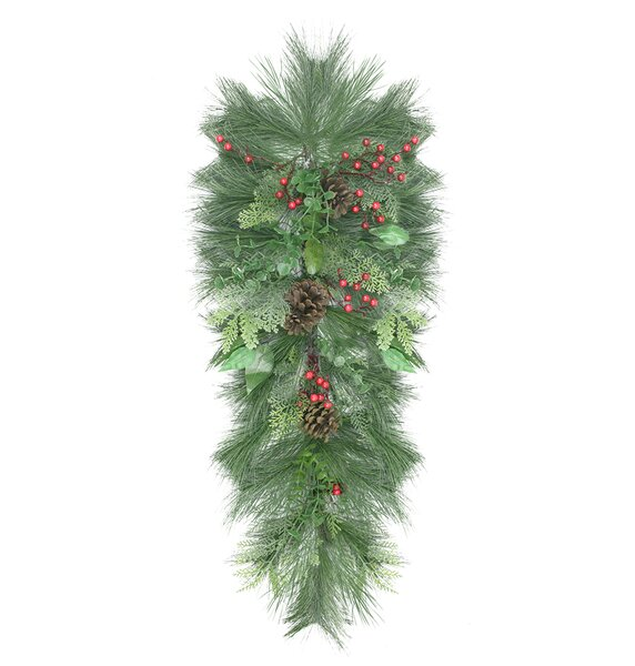 Decorated Long Needle Pine, Pine Cone and Berry Artificial Christmas Teardrop Swag by Northlight Seasonal