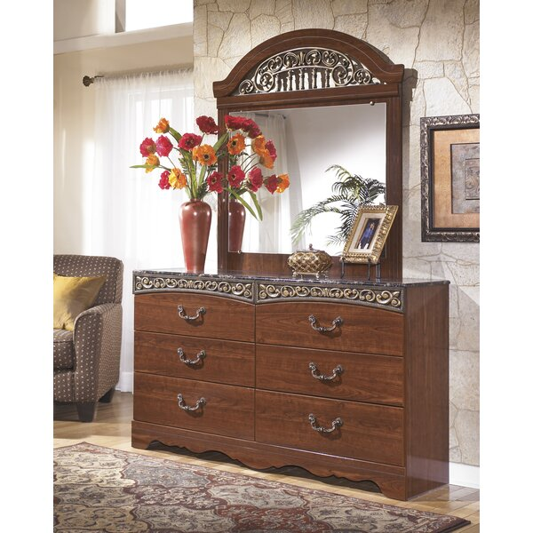 Samia 6 Drawer Double Dresser with Mirror by Fleur De Lis Living