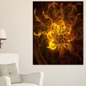 'Golden Fractal Flower in Dark' Graphic Art on Wrapped Canvas by Design Art