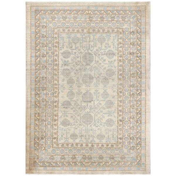 Hand-Knotted Wool Rug Gray/Blue Area Rug by Pasargad NY
