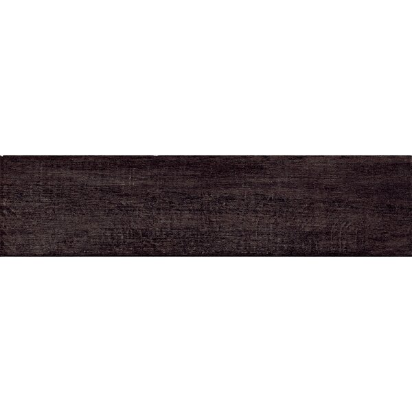 Barrique 6 x 24 Porcelain Wood Tile in Black by Samson