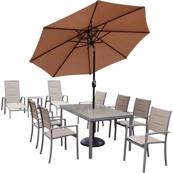 Vierzon 9 Piece Dining Set with Umbrella