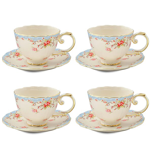 Hemby Rose Porcelain 7 oz. Tea Cup and Saucer (Set of 4) by Lark Manor