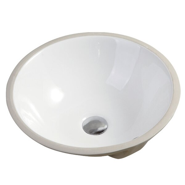 Nerida Ceramic Circular Vessel Bathroom Sink with Overflow by Safavieh