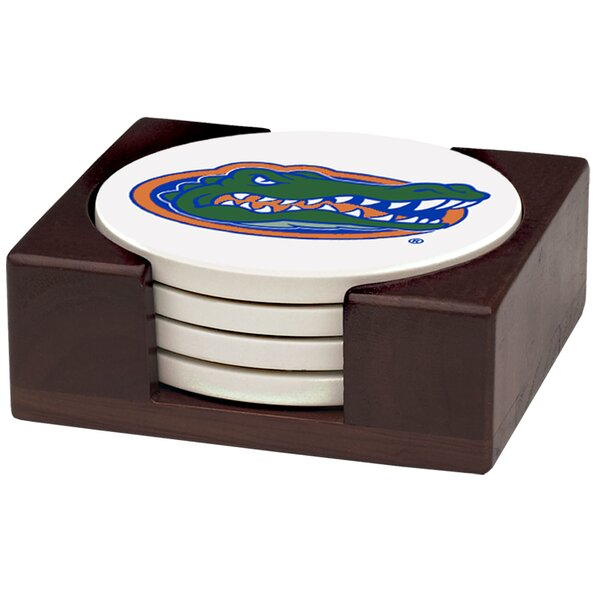 5 Piece University of Florida Wood Collegiate Coaster Gift Set by Thirstystone