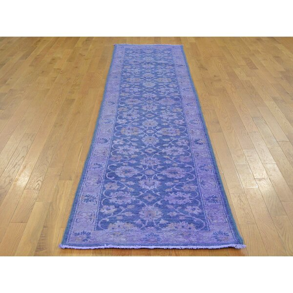 One-of-a-Kind Beaumont Overdyed Hand-Knotted Purple Wool Area Rug by Isabelline