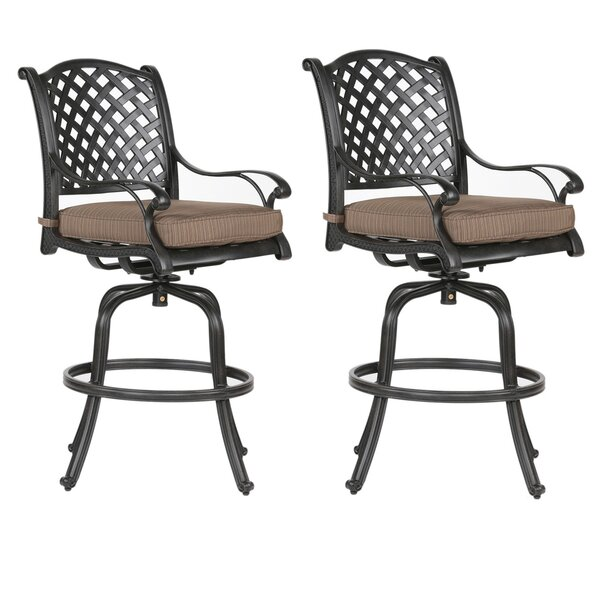 Lehmann 29.75  Patio Bar Stool with Cushion (Set of 2) by Three Posts