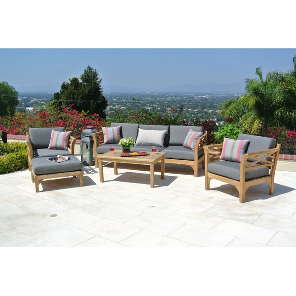 Lorenzo 6 Piece Teak Sofa Set with Sunbrella Cushions by Longshore Tides