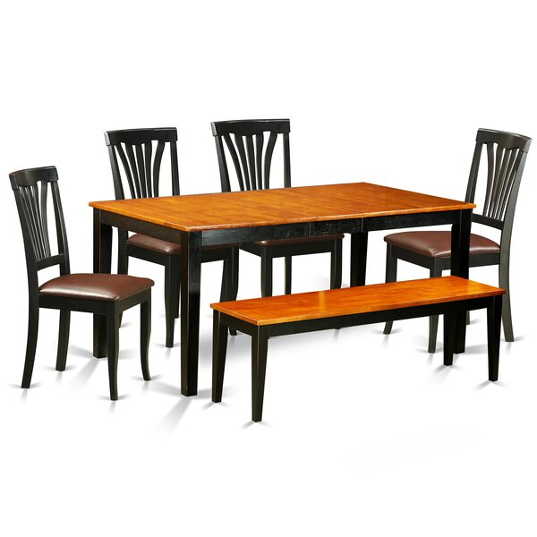 Cleobury 6 Piece Wood Dining Set with Rectangular Table Top by August Grove