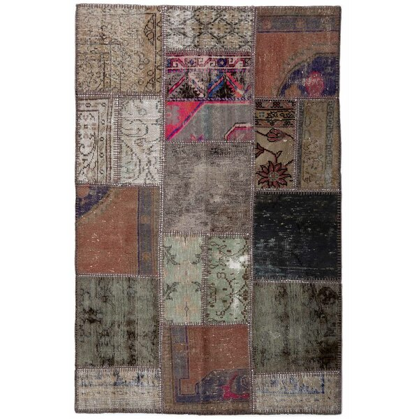 One-of-a-Kind Correia Patchwork Hand-Knotted Wool Beige/Black Area Rug by Isabelline