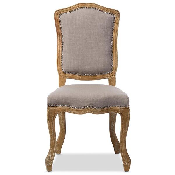 Freida Linen Upholstered Queen Anne Back Side Chair In Oak By Ophelia & Co.
