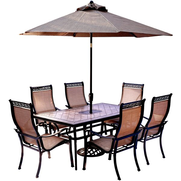 Bucci 7 Piece Dining Set with Table Umbrella and Umbrella Stand by Fleur De Lis Living