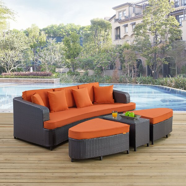 Kendleton 4 Piece Rattan Sofa Set with Cushions by Red Barrel Studio