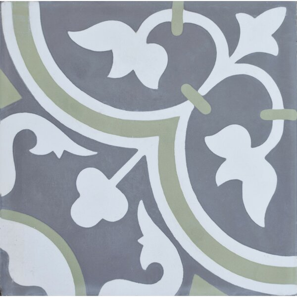 Roseton 8 x 8 Cement Field Tile in Gray/White by Rustico Tile & Stone
