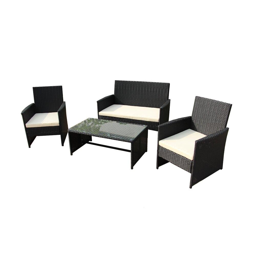 Charlton Home Lampkins 4 Piece Rattan Sofa Set With Cushions U0026 Reviews |  Wayfair
