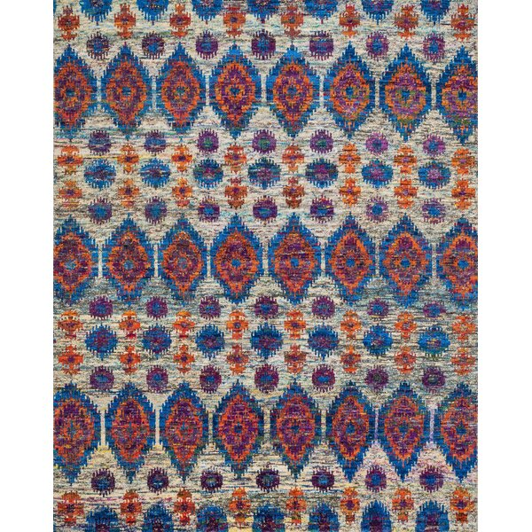 Zaleski Hand-Knotted Red/Blue Area Rug by Bloomsbury Market