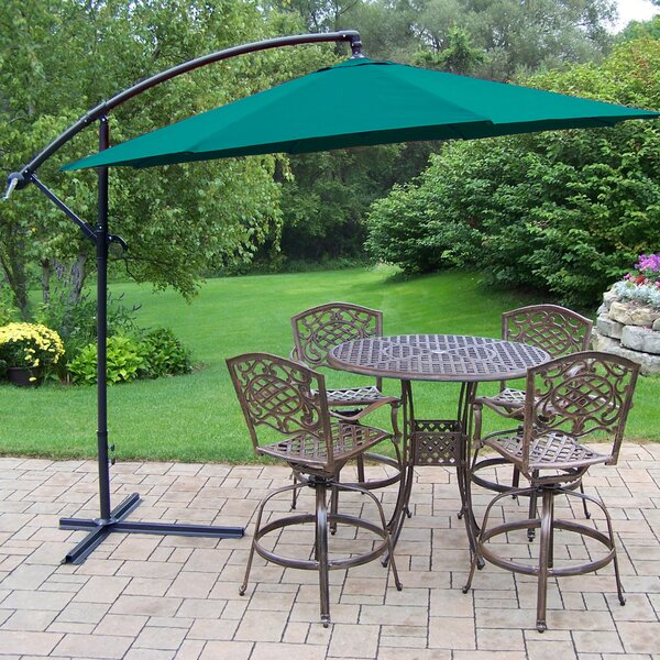 Zofia Swivel 5 Piece Bar Height Dining Set with Umbrella by Charlton Home