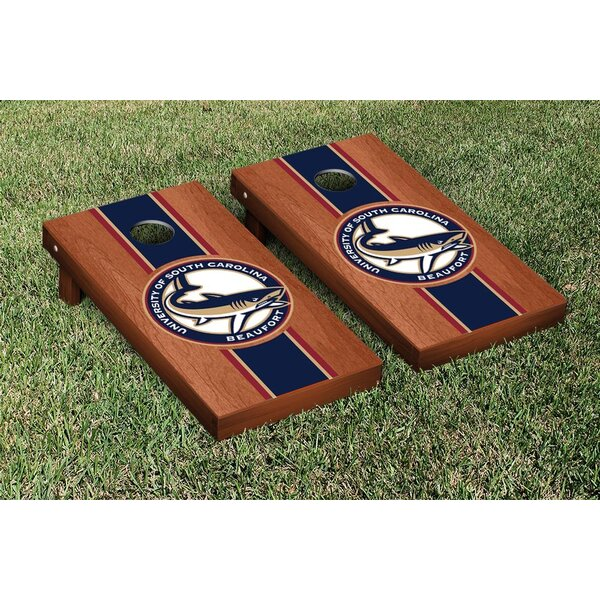 NAIA University of South Carolina Beaufort USCB Sand Sharks Rosewood Version Cornhole Game Set by Victory Tailgate