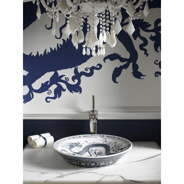 Imperial Blue Ceramic Circular Vessel Bathroom Sink by Kohler