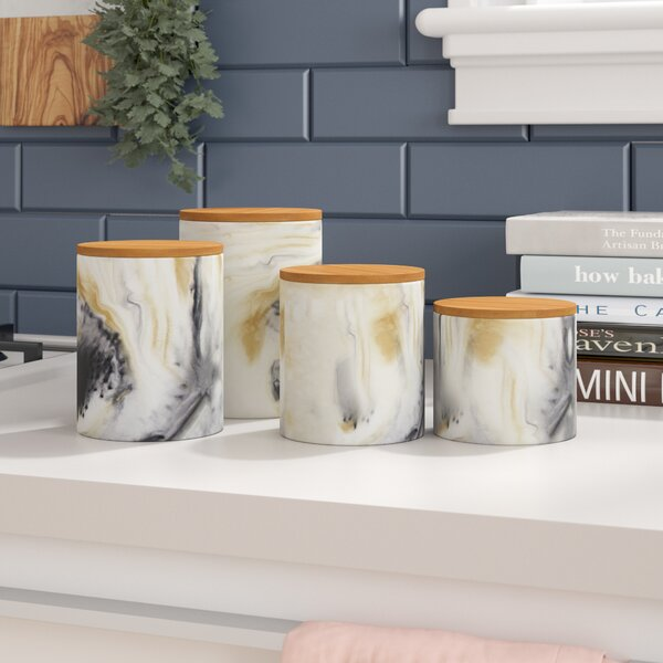 Modern Marble 4 Piece Kitchen Canister Set by Ivy Bronx