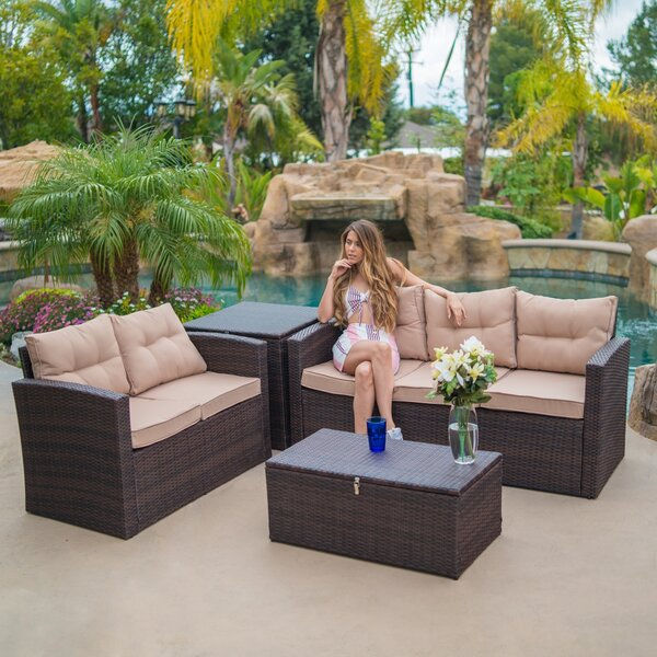 Rowley Patio Sectional with Cushions by Fleur De Lis Living