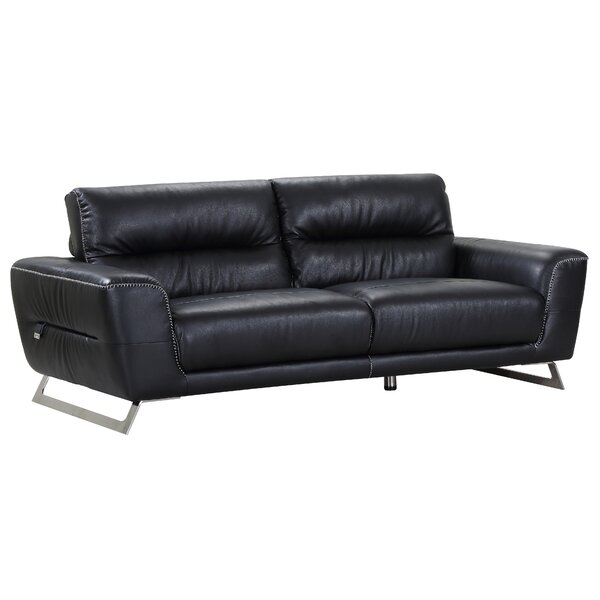 Hawkesbury Common Luxury Italian Upholstered Living Room Leather Sofa by Orren Ellis