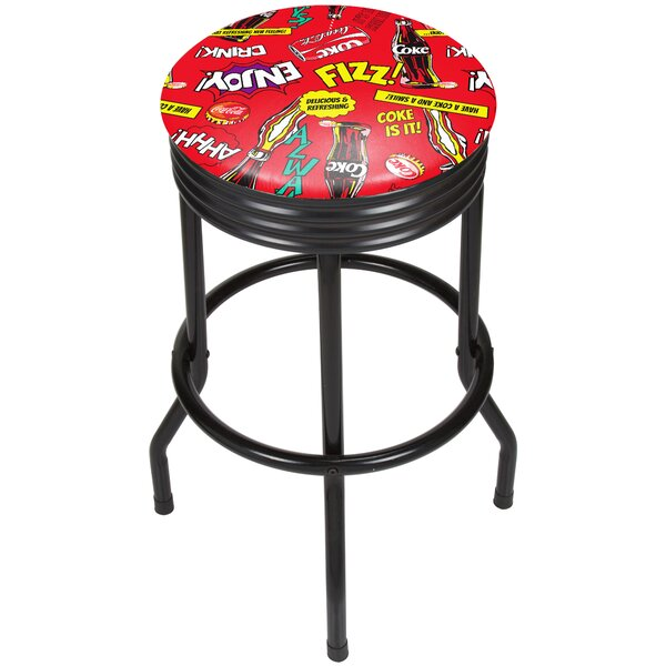 Coca Cola Pop Art 28.5 Swivel Bar Stool by Trademark Global