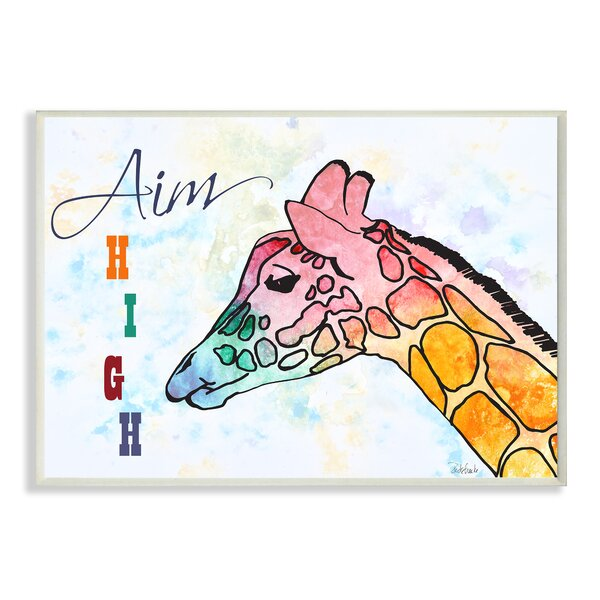 Kleckner Watercolors Aim High Giraffe Wall Plaque by Zoomie Kids