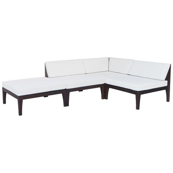 Paille Outdoor Sofa Patio Sectional with Cushions (Set of 4) by Highland Dunes