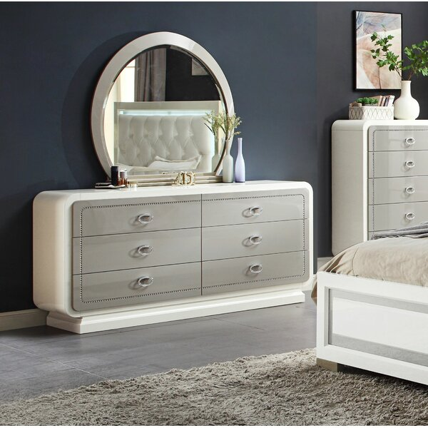 Katlyn 6 Drawer Double Dresser with Mirror by Rosdorf Park