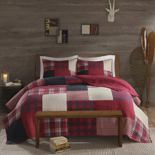 MiCasa 3 Piece Embroidery Quilt Bedspread Set Solid Colors Queen King