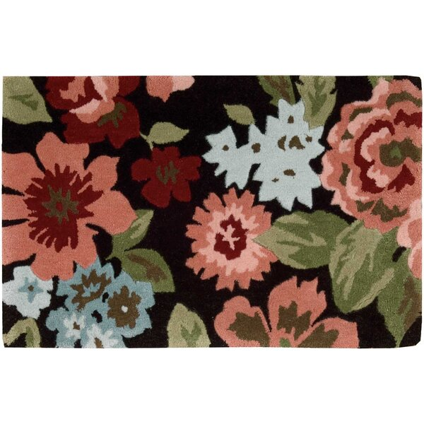 Woodburn Black/Peach Area Rug by Winston Porter