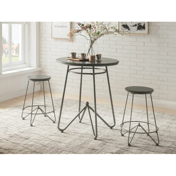 3pc Round Top Metal Base Dining Table Set In Gray Oak and Sandy Gray Finish by Foundry Select Foundry Select