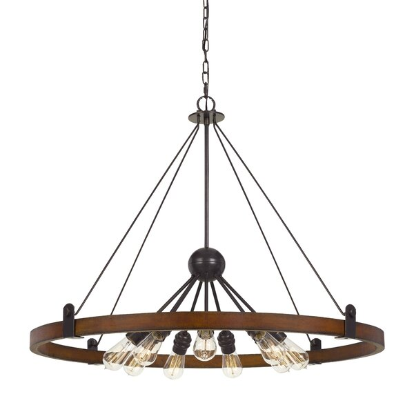 Baity 9 - Light Unique / Statement Wagon Wheel Chandelier with Wood Accents by Williston Forge Williston Forge